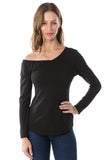 FLONA ONE SIDE OPEN SLEEVE TOP (BLACK)- VT2581