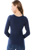 FLONA YOKE TOP (NAVY)- VT2582-RIB FABRIC