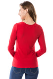 FLONA YOKE TOP (RED)- VT2582-RIB FABRIC