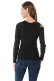 MAYA ONE OPEN SHOULDER LONG SLEEVE TOP (BLACK)- VT2584