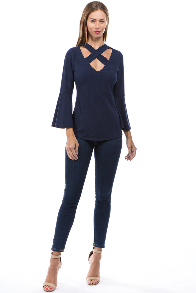 MAYA CRISS CROSS BELL SLEEVE TOP (NAVY)- VT2585