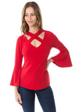 MAYA CRISS CROSS BELL SLEEVE TOP (RED)- VT2585