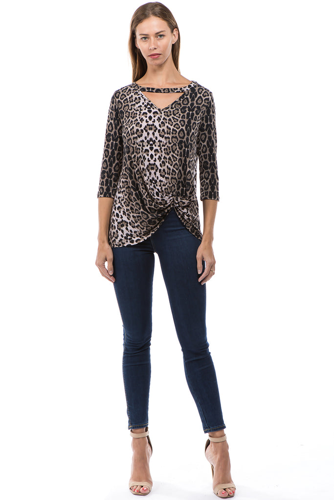 ROSALIE 3/4 SLEEVE TOP (ANIMAL)-VT2590A