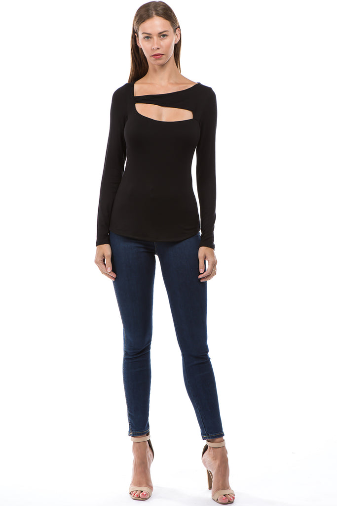 ROCIO SPLIT YOKE TOP (BLACK)-VT2595
