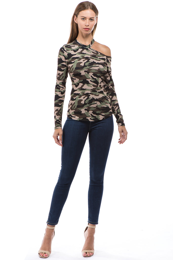ROCIO ONE SHOULDER OPEN TOP (MILITARY)-VT2596P
