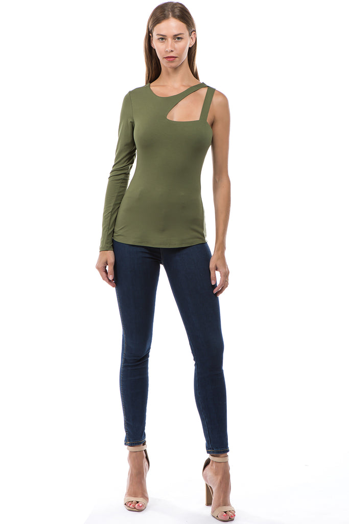 SOINA ONE SLEEVE TOP (OLIVE)-VT2599