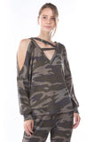 ZIG ZAG NECK TOP (NEW ARMY)-VT2601