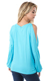 SOINA ZIG ZAG NECK TOP (SKY BLUE)-VT2601