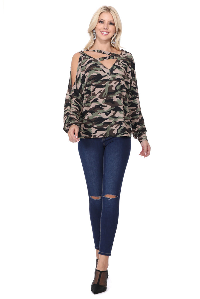 SOINA ZIG ZAG NECK TOP (ARMY)-VT2601P