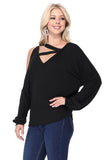 SOINA ZIG ZAG NECK TOP (BLACK)-VT2601