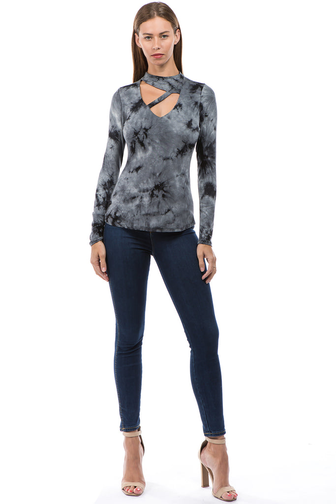 SOINA HIGH NECK TOP (GREY)-VT2602