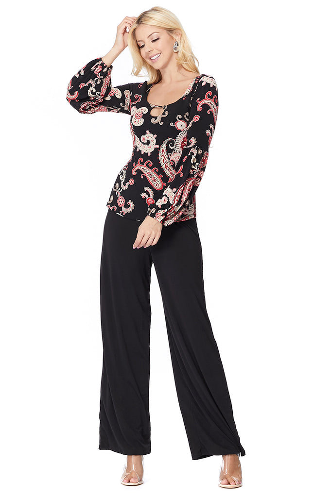 BERRI BUBBLE SLEEVE TOP (BLACK MULTI)-VT2603-BERRI