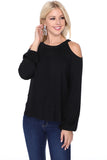 MICHELLE COLD SHOULDER TOP (BLACK)-VT2609