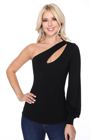 BETTE ASYMMETRICAL BISHOP SLEEVE TOP (BLACK)-VT2611