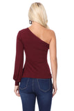 BETTE ASYMMETRICAL BISHOP SLEEVE TOP (DARK WINE)-VT2611
