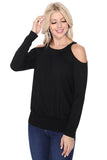BETTE COLE SHOULDER LONG SLEEVE TOP (BLACK)-VT2612