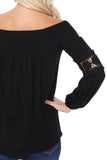 JESSIE OFF SHOULDER TOP (BLACK)-VT2614