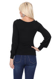 JESSIE BISHOP SLEEVE TOP (BLACK)-VT2615