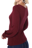 JESSIE BISHOP SLEEVE TOP (DARK WINE)-VT2615
