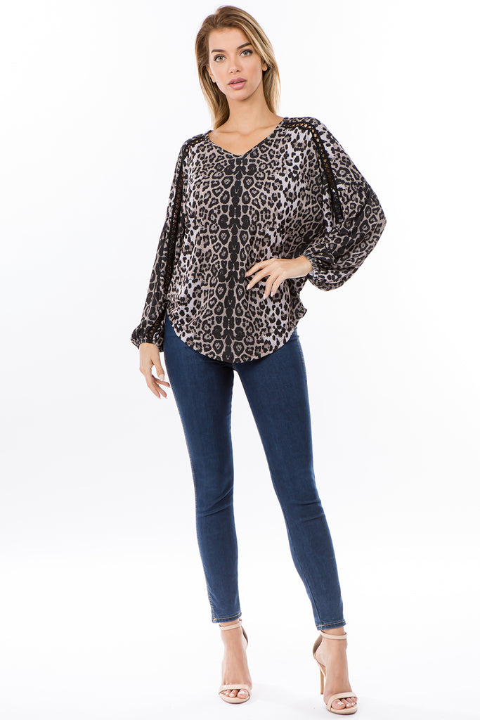 GRETA  BUBBLE SLEEVE TOP (ANIMAL)-VT2623A