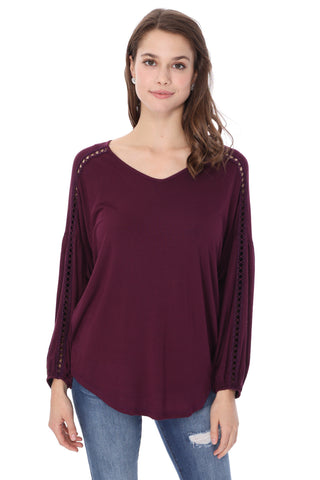GRETA  BUBBLE SLEEVE TOP (DARK WINE)-VT2623