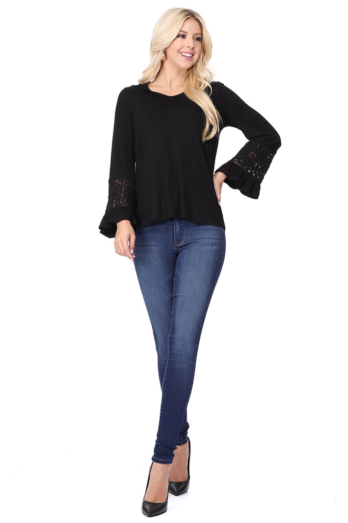 ELSIE HDDIE TOP (BLACK)-VT2631