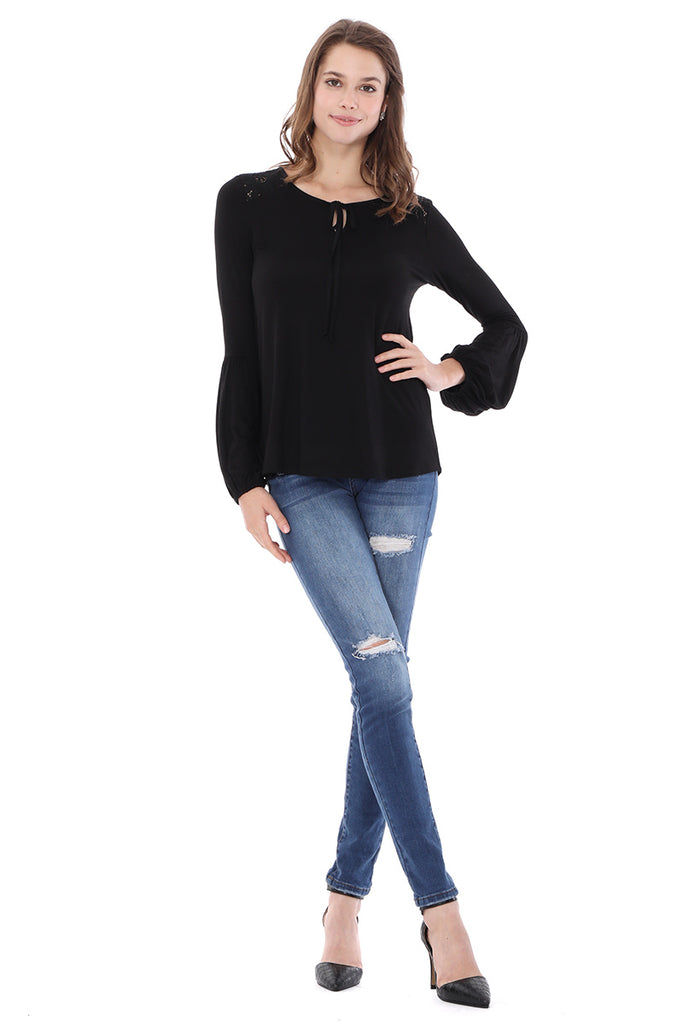 ELSIE FRONT TIE TOP (BLACK)-VT2632