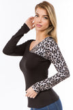 AGNES LONG SLEEVE TOP (BLACK/ANIMAL)-VT2634A