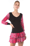 AGNES BUBBLE LONG SLEEVE TOP (BLACK/RED BANDANA)-VT2636