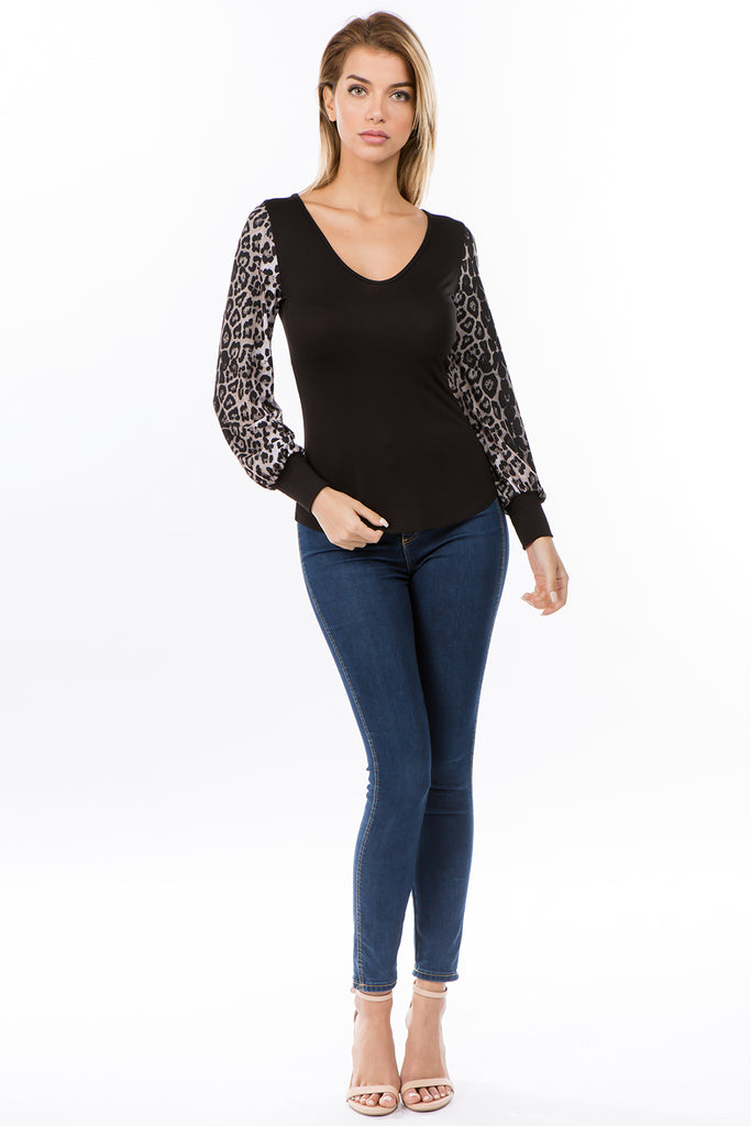 AGNES BUBBLE LONG SLEEVE TOP (BLACK/ANIMAL)-VT2636A