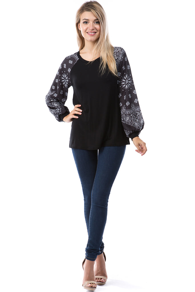 GINA ROUND NECK TOP (BLACK/BLACK BANDANA)- VT2645