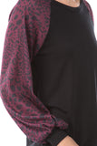 GINA ROUND NECK TOP (BLACK/LEOPARD WINE)- VT2645