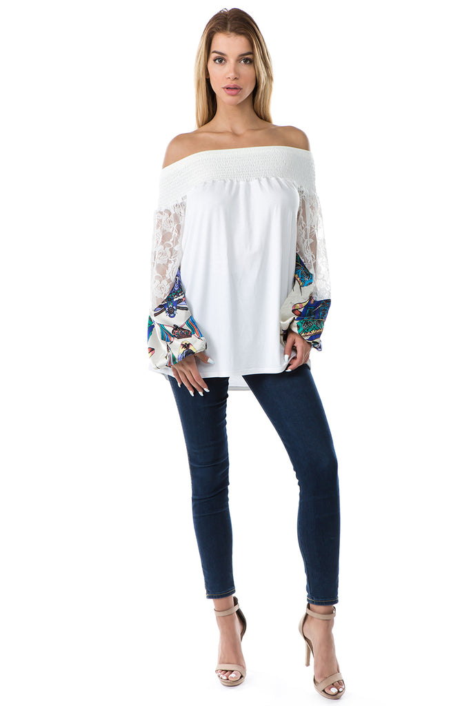 GINA OFF SHOULDER TOP (IVORY)- VT2646