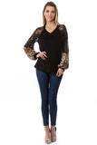 GINA V NECK TOP (BLACK)- VT2647A