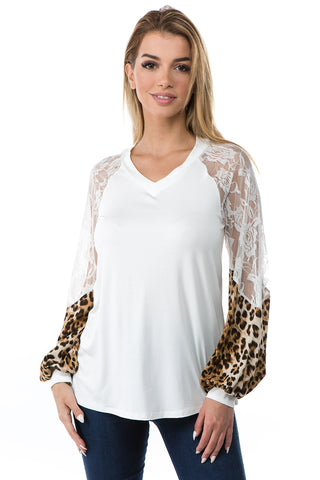 GINA V NECK TOP (IVORY)- VT2647A