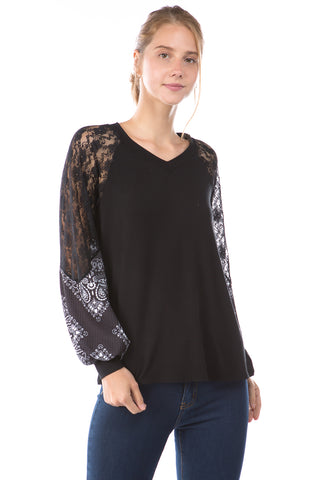 GINA V NECK TOP (BLACK/BANDANA BLACK )- VT2647