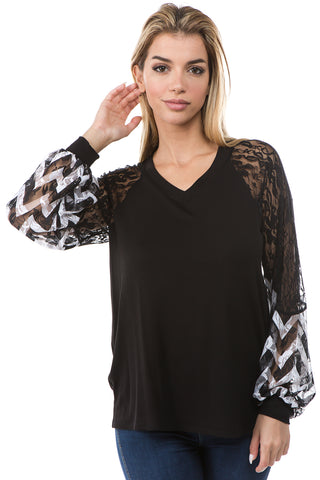 CHEVRON V NECK TOP (BLACK)- VT2647