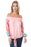AVELINE OFF SHOULDER TOP (PEACH)- VT2655