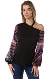 AVELINE ONE COLD SHOULDER TOP (BLACK)- VT2659-PURPLE
