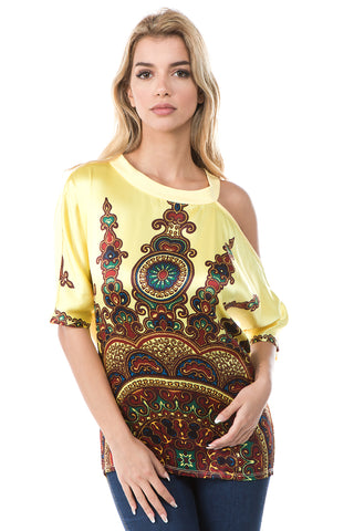 MILLIE ONE SIDE OPEN TOP (YELLOW/ETHNIC)- VT2665