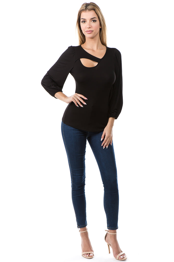 CALLA 3/4 SLEEVE TOP (BLACK)- VT2667