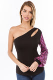 ELLA ONE SLEEVE TOP (BLACK/FUSCHIA)-VT2673