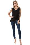 FIONA FRONT KNOTS TOP (BLACK)- VT2682