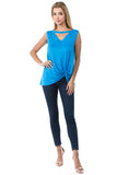 FIONA FRONT KNOTS TOP (OCEAN BLUE)- VT2682