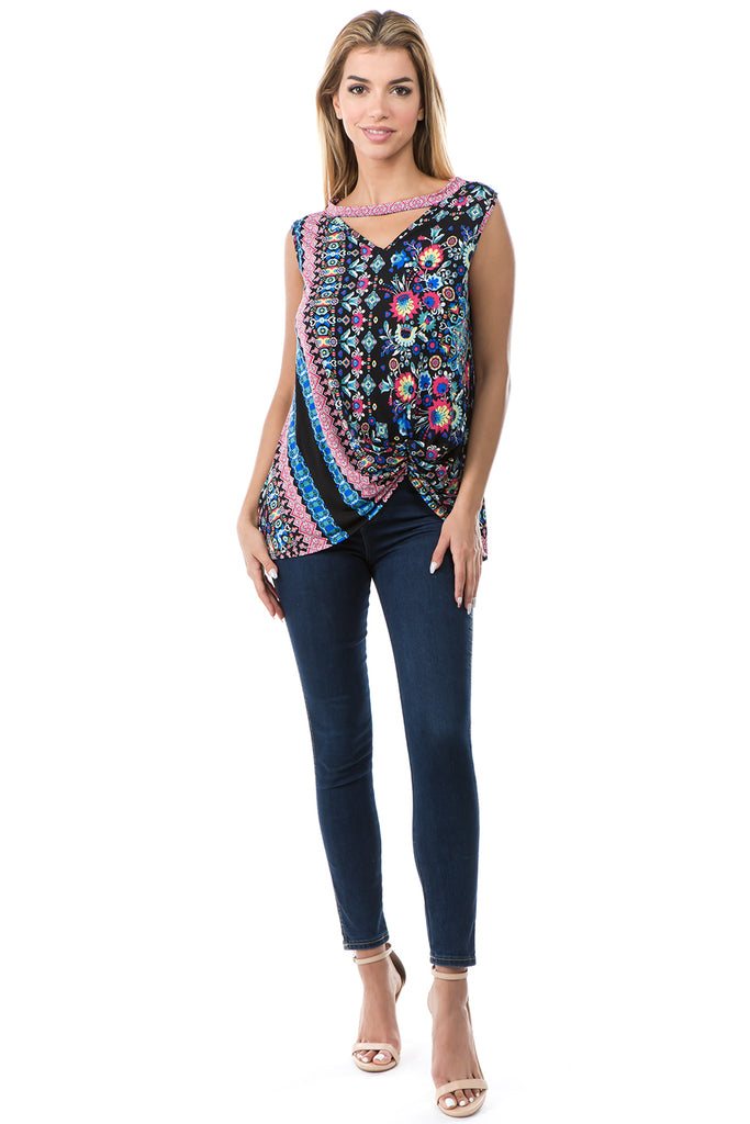 EDEN FRONT KNOTS TOP (MULTI)- VT2682P