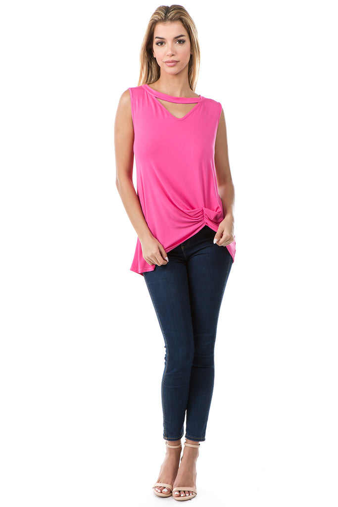 FIONA FRONT KNOTS TOP (CANDY PINK)- VT2682