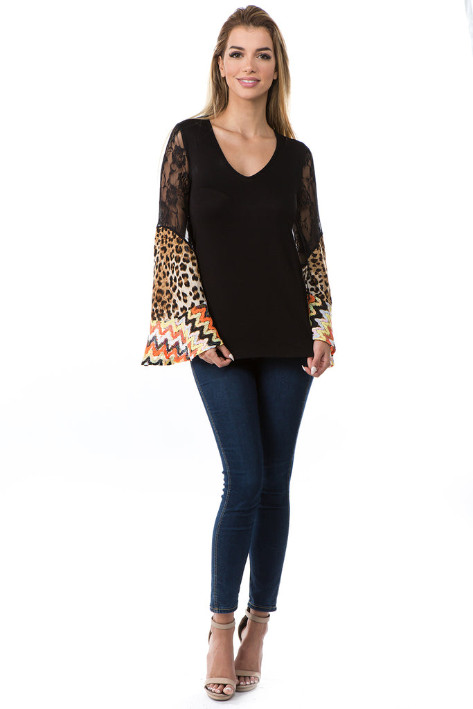 AGNES BELL SLEEVE TOP (BLACK)- VT2693