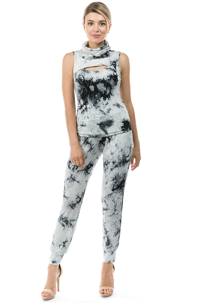 FLORA MASK SLEEVELESS TOP (BLACK/WHITE TIE DYE)-VT2745T