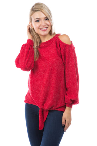 ALYSSA TOP (RED CORDED SWEATER)-VT2748