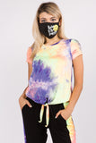 CORA FRONT TIE SHORT SLEEVE TOP (NEON PURPLE TIE DYE)- VT2755T